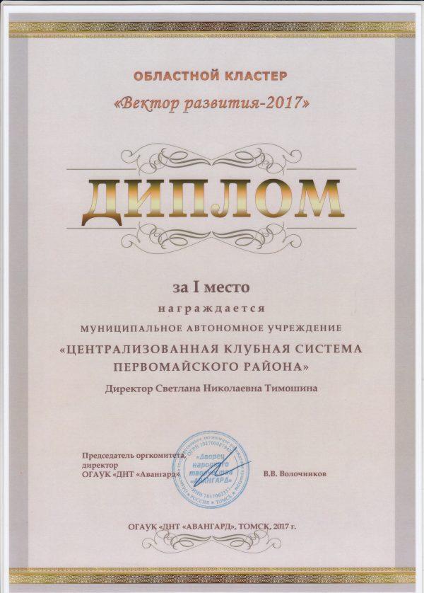 """Областной кластер """"Вектор развития 2017г"""""""